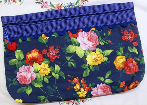 LOTS2LUV Deep Blue Floral Cross Stitch Embroidery Project Bag