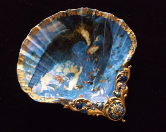 Night With Her Train Of Stars Victorian Angels Shell Jewelry Dish Trinket Dish