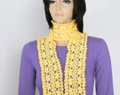 Yellow Scarf,  Crocheted Scarf, Neckwarmer, Cachecol, Long crochet scarf,