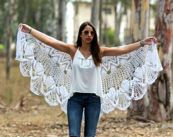 Wedding Shawl Wrap White Shawl white Wraps Shawl Crocheted Lace Shawl lace knit shawl knit shawl scarf Hand knit Clothing
