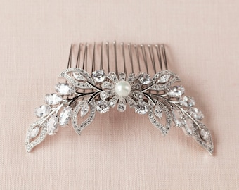 Wedding Hair Comb, Crystal Bridal headpiece, Hair Clip, Rose Gold, Yellow Gold, Wedding Headpiece, Double Linneah Hair Comb