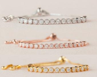 Flower Girl Jewelry, Rose Gold Crystal Bracelet, Bridesmaid Bracelet, Flower Girl Jewelry, Bridal Jewelry, Ava Bracelet