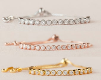 Crystal Bangle Bracelet, Rose Gold Bridal Bracelet, Bridesmaid Bracelet, Wedding Jewelry, Bridal Jewelry, Ava Bracelet