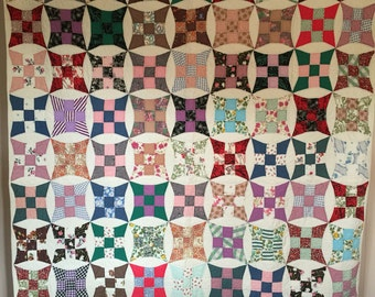 Antique Vintage Improved Nine-Patch Quilt FANTASTIC Mid-Century FABRICS Gorgeous