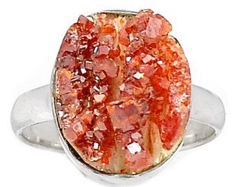 Gemmy Orange Octogonal Druzy. Vanadinite on Gypsum Solid Sterling size 9.5 Ring.