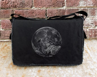 Messenger Bag - Moon and Ravens - Screen Printed Retro Messenger Bag