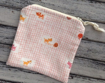 Cats with Yarn Notions Bag for Knitting Accessories