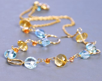 Blue Topaz, Citrine Sapphire Gold Filled Necklace by Agusha. Blue Gemstone Necklace. Delicate Topaz Necklace. Sapphire Necklace