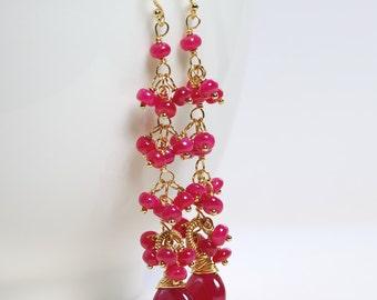 Ruby Cluster Earrings by Agusha. Ruby Dangle. Red Gemstone Cluster Earrings. July Birthstone Dangles