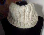 luxury wool Ecru Cowl , neckwarmer, unisex adults,  supersoft - handmade to order