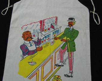 RESERVED for Hadassa-Vintage Bar Apron with Colorful Bartender and Patron, Fun