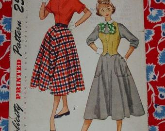 Vintage Pattern c.1950 Simplicity No.3306 One Piece Dress, Weskit, Size 14