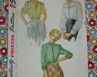 Vintage Pattern c.1949 Simplicity No.2935 Blouses, Size 14