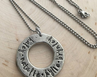 Mommy Necklace - Washer Necklace - Personalized Mommy Necklace