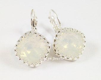 White Opal Earrings - Swarovski Crystal Cushion Cut Snow White Crown Bezel Earrings