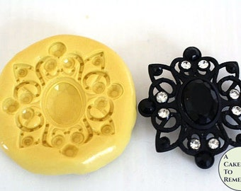 Silicone jewelled Brooch Mold for cake decorating, chocolate mold, hard candy mold, polymer clay mold, jewel resin mold, silicone mould M200