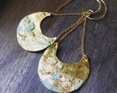 Gold metal earrings, half moon earrings, Mint, gold, primitive earrings, tribal earrings, boho earrings, unique earrings