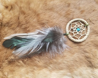Dream Catcher Earring - Single - Natural Feathers