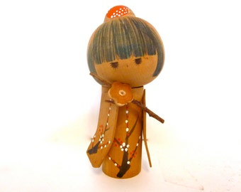 Vintage kokeshi Japanese wood doll, hand painted and stamped souvenir wooden doll