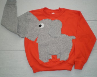 Orange Childrens Elephant Trunk sleeve sweatshirt, small and xlarge,elephant jumper, childrens sweatshirt, SPECIAL