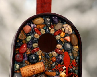 pine cone Stone Bird House Outdoors with Oregon Obsidian and wine cork handmade from Bend, Oregon ~