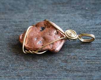 Copper Nugget Wire Wrapped Pendant #5617