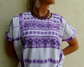 "SALE Collectors handwoven cotton Huipil tunic dress Mexican Amuzgo white purple patterns elegant boho resort Frida Kahlo 28""W X 40"" L"
