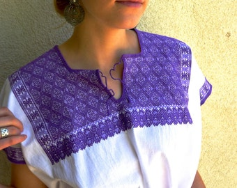 Chiapas superfino embroidered blouse huipil purple Mayan Magdalenas Boho resort cover-up