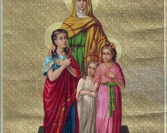 Digital image  Saint Sofia Sophia  Icon Antique Lithoprint Beautiful colors UNIQUE