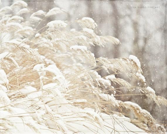 Snow Print or Canvas Art, Winter White Decor, Holiday Decor, Grey Beige Cream, Snowflakes, Winter Grasses, Winter Nature Photography.