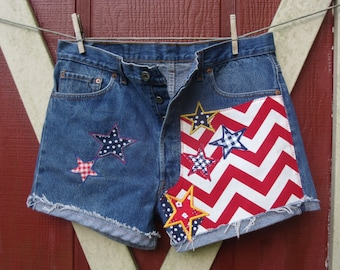 Patriotic flag stars chevron stripes Daisy Dukes embroidered vintage 501 button fly high waisted Levi cut off shorts july 4th festival wear