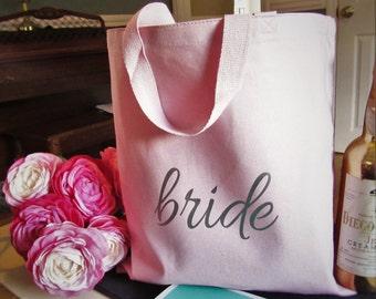 Bride Tote Bag // Blush Bridal Bag // Blush Tote Bag //  Engaged //  Bridesmaids Tote // Bridesmaids Gift // Bridal Party Gift Engaged
