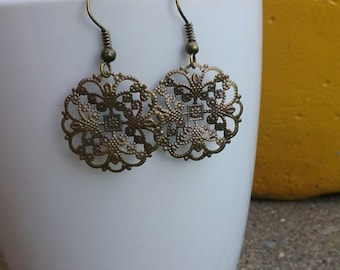 Antique brass filigree French hook earrings