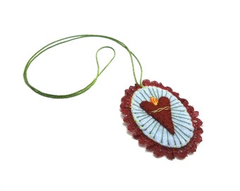 sagrado corazón escapulario felt necklace