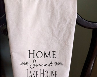 Personalized Tea towel address home sweet lake house flour sack