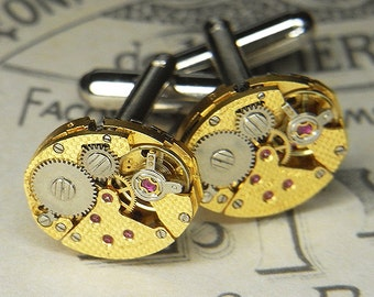 Steampunk Cufflinks Cuff Links - Torch SOLDERED - Vintage GOLD TEXTURED Watch Movements - Wedding Anniversary Gift - Ultra Rare