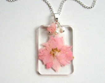 Pink Larkspur - Real Flower Garden Necklace -  botanic jewelry, pressed flower, larkspur, rose quartz, natural, Nature inspired, modern ooak