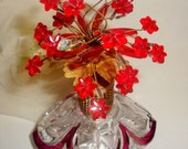 IRICE Red Flowers Rhinestones Crystal Perfume Bottle Germany Collectible Vanity Vintage Decor