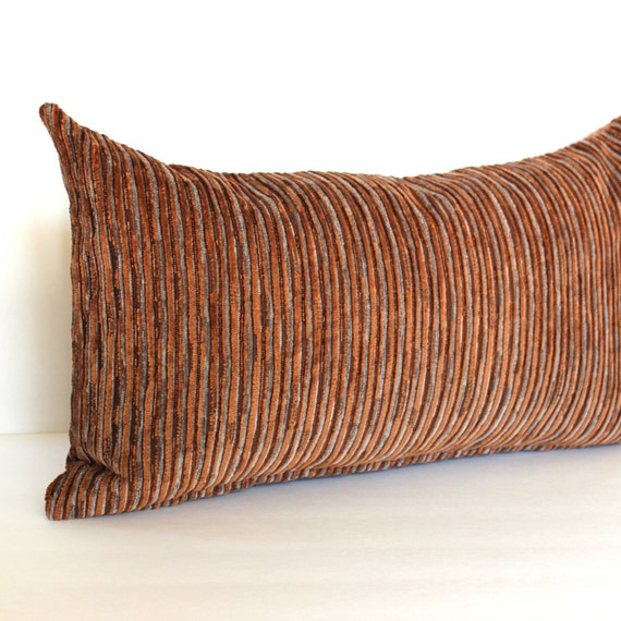 Lumbar Pillow Cover Rusty Brown Blue Grey By Couchdwellers