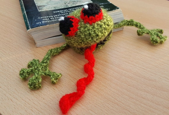 Handmade Crochet Squashed Funny Frog Bookmark Book Page Marker Great Teacher Gift