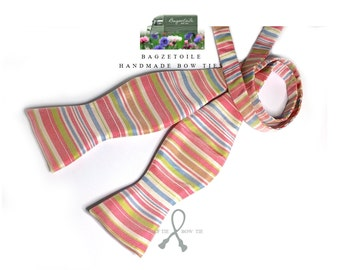 self tie, Men's bow tie and pocket square / pure silk with gingham cotton fabric /  handmade by Bagzetoile in France