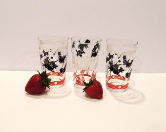 Vintage Scottie Dog Glasses - Scottie Dogs - Federal Glass - Red Black Scotties - 1950s Glasses