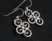 Elegant Swirl Earrings - Sterling Silver Wire Wrapped Dangle - Carly