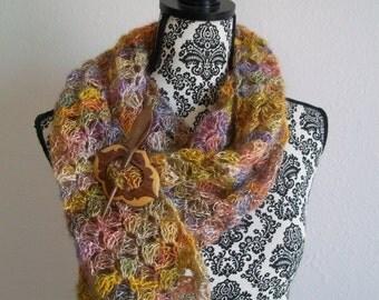 crocheted open work scarf wrap ~ tequila sunrise ~