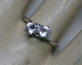 White Spinel Bypass Ring, Engagement Alternative Two Stone, Uncas Atomic 1960s