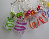 Cocktail Hour Party Wine Charms - Multi Colored Glass Wine Tags - Set of Six - Glass Wine Charms Made by Pillowscape Designs - Hostess Gift
