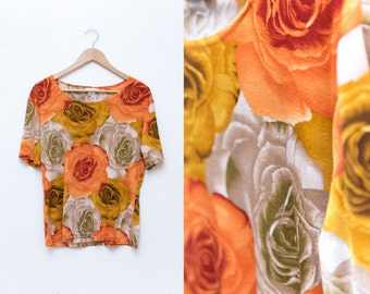 Vintage Floral Top / Golden Floral Shirt Burnt Orange Blouse / Novelty Rose Print Shirt / Flower Print Oversized Slouchy Womens Large