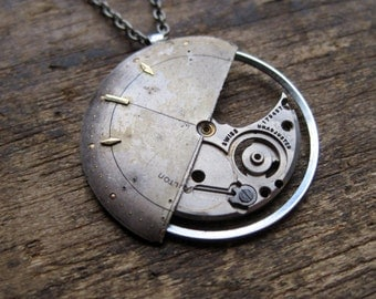 "Watch Face Pendant ""Combine"" Deconstructed Watch Dial Necklace Recycled Upcycled Gear Art Steampunk by A Mechanical Mind"
