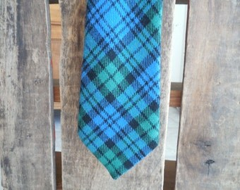 Blue Plaid Wool Tie from Scotland