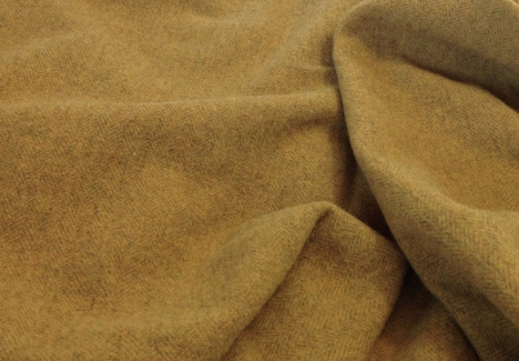 Golden Herringbone Wool Fabric for Rug Hooking and Appliqué, Mill Dyed, One yard, Half Yard, Quarter Yard, W134